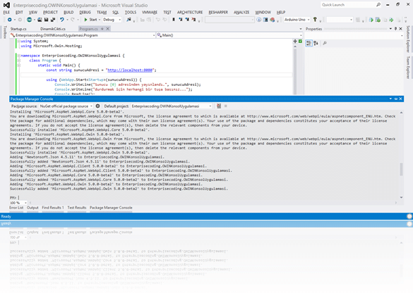 Microsoft.AspNet.WebApi.Owin NuGet paketi kurulumu