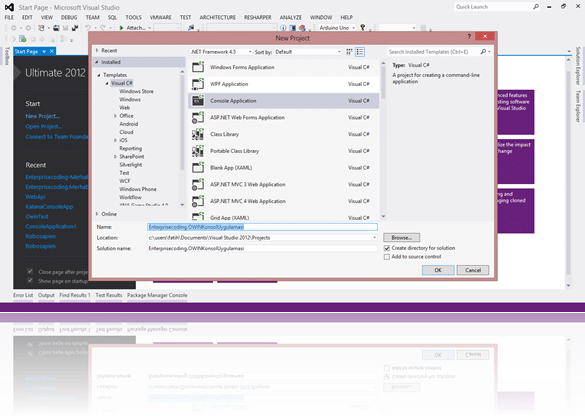 Visual Studio'da OWIN konsol uygulamamızı oluşturalım